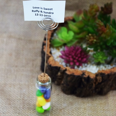 Mini Message Bottle Favor and Table Number Photo Holder w/ Cork - 2.5 Inch