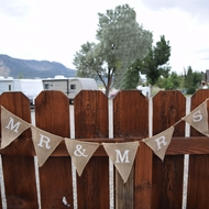 Mr & Mrs Wedding Burlap Triangle Flag Pennant Banner (5 Ft)
