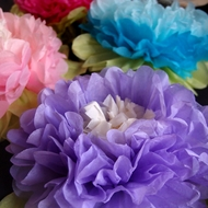 Multi-Color Tissue Paper Flowers