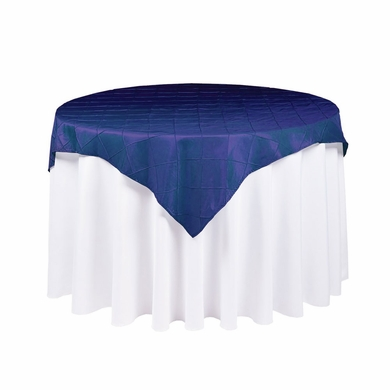 224 & Navy Blue Square Pintuck Chameleon Table Cloth Overlay Cover - 72 x 72 Inch
