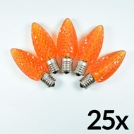 Replacement Orange 5 LED C9 Faceted Christmas Light Bulbs, E17 Base (25 PACK)