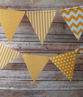 Orange Mix Pattern Triangle Flag Pennant Banner (11FT)