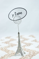 "Paris Eiffel Tower 5"" Name Card  / Photo Holder, Metal, Silver"