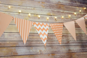 BLOWOUT Peach / Orange Coral Mix Pattern Triangle Flag Pennant Banner Decoration (11FT)