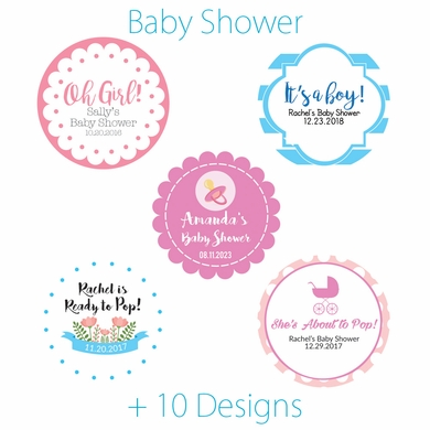 Personalized baby shower circle label stickers for party favors invitations