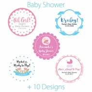 Personalized Baby Shower Circle Label Stickers for Party Favors & Invitations