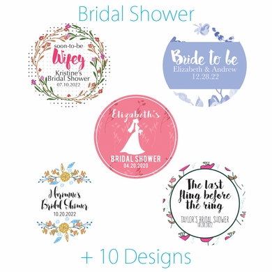 personalized bridal shower circle label stickers for party favors invitations