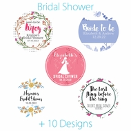 Personalized Bridal Shower Circle Label Stickers for Party Favors & Invitations