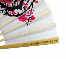 Personalized Cherry Blossom / Sakura Silk Hand Fan (10 PACK)