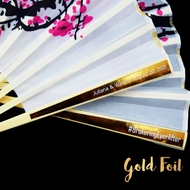 Personalized Gold Foil Label Cherry Blossom / Sakura Silk Hand Fans - Metallic (10 Pack)