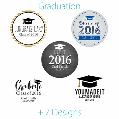 Personalized school graduation favor circle label stickers for party favors invitations