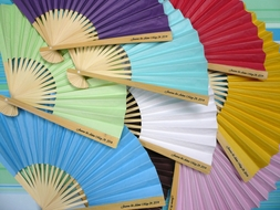 Personalized Paper Fans w/ Side Handle Print (10 PACK)