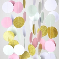 Pink and Gold Circle Paper Garland Banner (9FT)