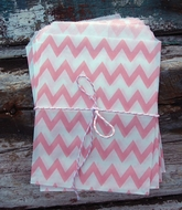Pink Chevron Paper Treat Bags - (12 PCS)