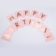 Pink Gold Foil Happy Birthday Party Pennant Banner Garland Decoration (8FT)