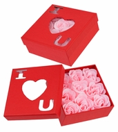 "Pink ""I Love You"" Rose Soap Petals in Red Box (Discontinued)"