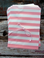 Pink Stripe Paper Treat Bags - (12 PCS)