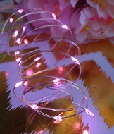 20 Pink LED Micro Fairy String Lights, Wire (6ft, Battery Operated)