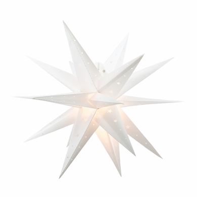 "PLASTIC - 24"" White Moravian Weatherproof Star Lantern Lamp, Multi-Point Hanging Decoration"