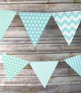 Powder Blue Mix Pattern Triangle Flag Pennant Banner (11FT)