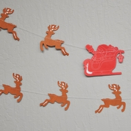 Red / Brown Santa's Reindeer Sleigh Christmas Holiday Party Paper Garland Banner (11FT)