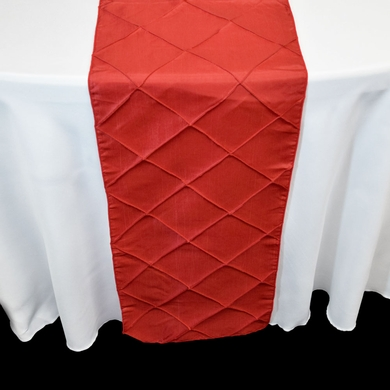 BLOWOUT Red Pintuck Chameleon Table Runner - 12 x 108 Inch