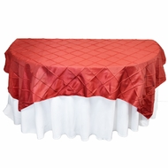 Red Square Pintuck Chameleon Table Cloth Overlay Cover - 72 x 72 Inch