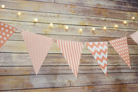 BLOWOUT Roseate / Pink Coral Mix Pattern Triangle Flag Pennant Banner Decoration (11FT)