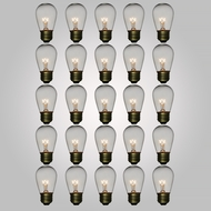 Clear 11-Watt Incandescent S14 Sign Replacement Light Bulbs, E26 Base (25 PACK)