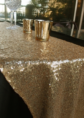 Sequin Table Runner   Gold (12 X 108)