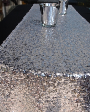 Sequin table runner silver 12 x 108