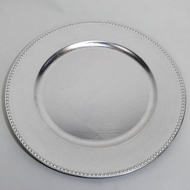 Silver Beaded Heavy Duty Charger Plate (13 Inch) - Rustic Brushed Finish