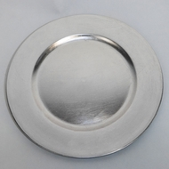 Silver Heavy Duty Charger Plate (13 Inch) - Rustic Brushed Finish