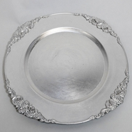 Silver Heavy Duty Charger Plate with Medieval Trim (13 Inch) - Rustic Brushed Finish