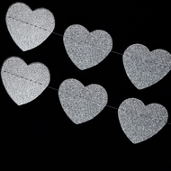 Silver Glitter Heart Shaped Paper Garland Banner (10FT)