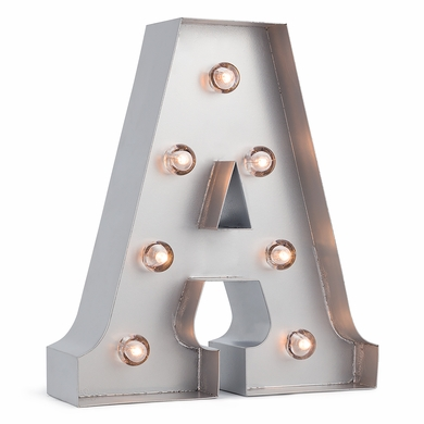 Silver Marquee Light Letter 'A' LED Metal Sign (8 Inch, Battery Operated w/ Timer)