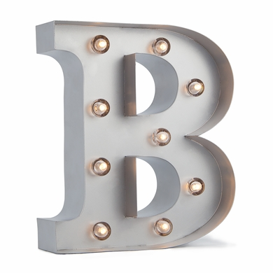 Silver Marquee Light Letter 'B' LED Metal Sign (8 Inch, Battery Operated w/ Timer)