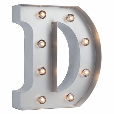 Silver Marquee Light Letter 'D' LED Metal Sign (8 Inch, Battery Operated w/ Timer)