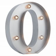Silver Marquee Light Letter 'O' LED Metal Sign (8 Inch, Battery Operated w/ Timer)