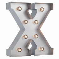 Silver Marquee Light Letter 'X' LED Metal Sign (8 Inch, Battery Operated w/ Timer)