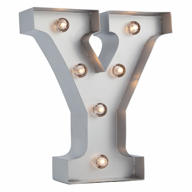 Silver Marquee Light Letter 'Y' LED Metal Sign (8 Inch, Battery Operated w/ Timer)