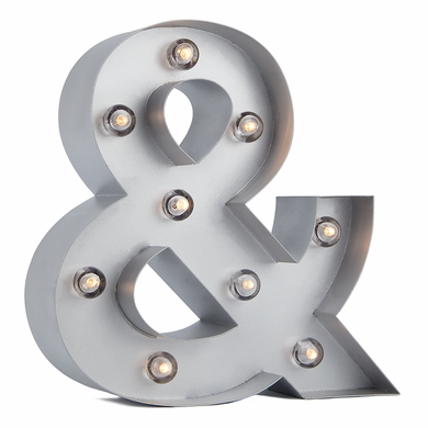 Silver Marquee Light Symbol '& / Ampersand' LED Metal Sign (8 Inch, Battery Operated w/ Timer)