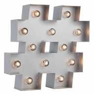 Silver Marquee Light Symbol '#' Hashtag / Pound LED Metal Sign (Battery Operated w/ Timer)