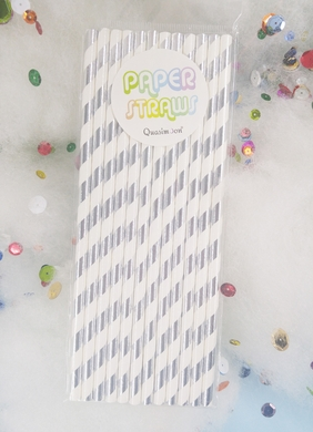 Silver Metallic Paper Straws, Striped Party Pattern (12-PACK)