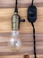 Single Copper Socket Vintage-Style Pendant Light Cord w/ Dimmer, 11 FT Twisted Black Cloth Cord