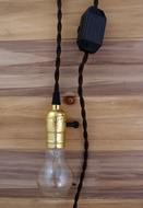 Single Gold Socket Vintage-Style Pendant Light Cord w/ Dimmer, 11 FT Twisted Brown Cloth Cord