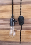 Single Black Pearl Socket Vintage-Style Pendant Light Cord w/ Dimmer, 11 FT Twisted Brown Cloth Cord