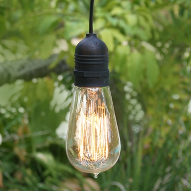 Single Socket Black Weatherproof Outdoor Pendant Light Lamp Cord, 15FT, UL Listed