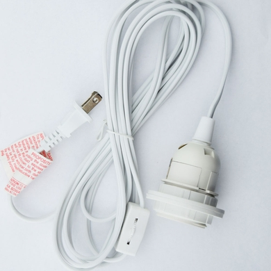 Single Socket White Pendant Light Lamp Cord for Lanterns, 11 FT, UL Listed
