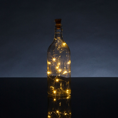 Solar Powered 10 Warm White LED Cork Wine Bottle Lamp Fairy String Light Stopper, 3FT (1pc)